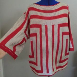 Ryu Knit Red Cream Stripe Batwing Sweater Size M/L